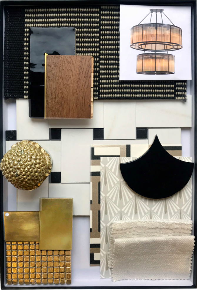 black and gold mood board